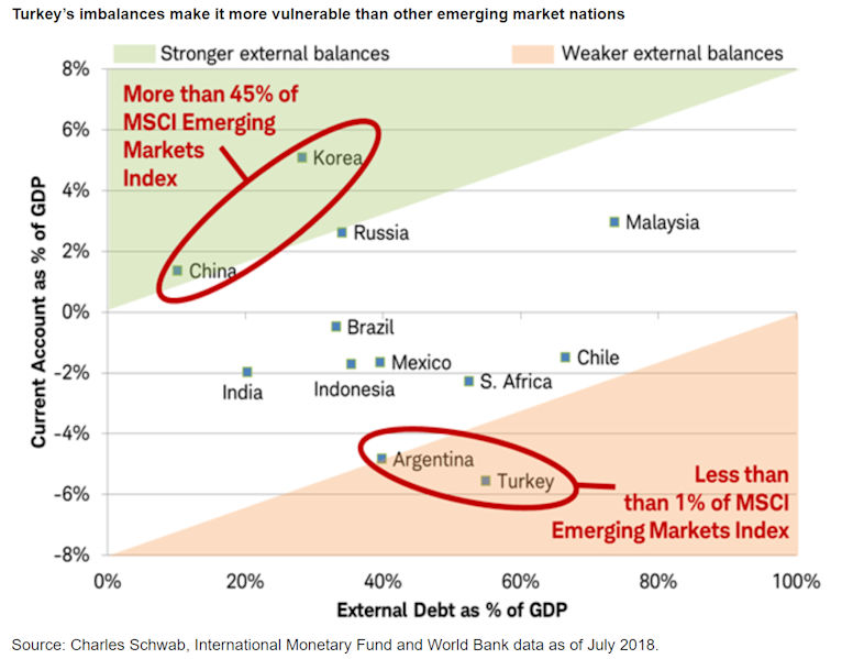 Turkey's imbalances make it more vulnerable than other emerging market nations